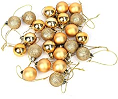 Ornament Ball ,24pcs 6 Colors Christmas Tree Hanging Glitter Plastic Creative Hobbies Round Ornament Balls Baubles Party Wedding Decorations(Gold)