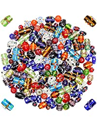 Glass Beads for Jewelry Making for Adults 120-140 Pieces Premium Quality Lampwork Murano Loose Bulk Beads for Bracelets, Necklaces, Accessories - Wholesale Jewelry Craft Supplies (MULTI COMBO - 10 OZ)