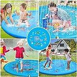 スプラッシュプレイマット、水プールインフレータブル振りかけるパッドのおもちゃ子供水プールインフレータブル屋外夏のパーティースプレーおもちゃ,Blue
