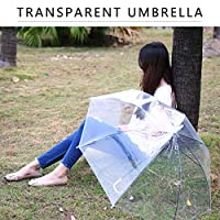MagRing防風ファッション透明クリア自動傘パラソル結婚式パーティーの好意スタンド裏返し雨保護色:透明