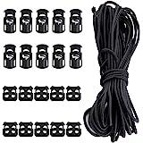 20 Pcs Plastic Cord Locks kit Elastic Bungee Nylon Shock Cord1/16 50 ft Lengths DaKuan 10 Pcs Sing-Hole 10 pcs Double-Hole (B