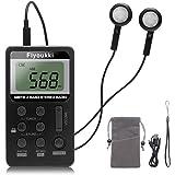 Pocket Radio by Flyoukki, Mini Am/Fm Portable Digital Transistor Radio with Best Reception, Earphones, Small Velvet Bag, Lany