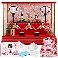 雛人形 リュウコドウ ちりめん ふっくら ひな人形 ケース飾り 五人飾り 丸金柱 キャンディーレッド ラインストーン 1.しだれ桜 カラー h293-rkcp-ca29-3-1-5