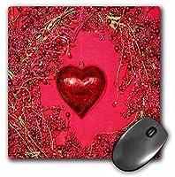 3drose LLC 8x 8x 0.25インチマウスパッド、レッドValentine Heart and Wreath ( MP _ 76753_ 1)