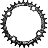 DECKAS 104BCD 32T 34T 36T 38T Narrow Wide Chainring, Single Chainring for 9/10/11-Speed with 4 Alloy Chainring Bolts (Round)