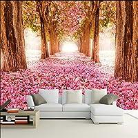 Sproud 大規模なカスタム壁紙ロマンチックな桜の花 3 D おしゃれなベッドルームのソファベッドが置かれたリビングルームの Tv の背景紙粘土 Peint 300 Cmx 210 Cm