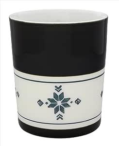 tomofac 焼酎グラス ブラック 7.5cm 波佐見焼 キーポ 二重構造ローカップ エスニック柄