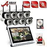 ANRAN 防犯カメラ 8台 モニター付き 監視カメラ ワイヤレス WiFi 130万画素 HD遠隔 動体検知 屋外 2TB内蔵