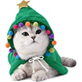 ANIAC Pet Christmas Costume Puppy Xmas Cloak with Star and Pompoms Cat Santa Cape with Santa Hat Party Cosplay Dress for Cats