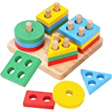 Boxiki kids Wooden Stacking Toys & Shape Sorting Board   Geometric Shape Stacker   Eco-Friendly & Non-Toxic Wooden Toy   Earl