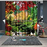 ゴールドフィッシュプリントシャワーカーテン180×180cm防水とカビの証拠フィッシュ装飾浴室バスカーテン12個入りフックYL-137 (Color : 4, Size : 180*180)