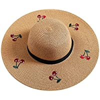 fa22185584d74 SODIAL Summer Women S Foldable Sunscreen Uv Protection Straw Hat Embroidery  Cherry Lady Beach Sun Hat Milky
