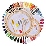 MS.Dear 刺しゅうキット 刺繍枠5本 刺繍糸50束 刺繍針30本 刺繍用布 18x12インチ 刺繍セット 竹製 (枠付け)