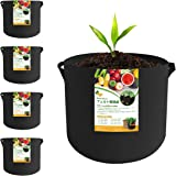 Beansfun® プランター 3ガロン 不織布ポット フェルト(23高x25直径) 5個 丸 布鉢 植木鉢 植え袋 野菜栽培 発育促進 通気透水 ブラック