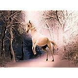 木製ジグソーパズルファンタジーホワイトHorseフォレスト冬500-pieces