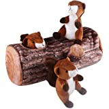 Dog Squeaky Toy, IFOYO Large Durable Hide and Seek Puzzle Plush Interactive Dog Toys for Medium / Small Dogs, Pets, Christmas