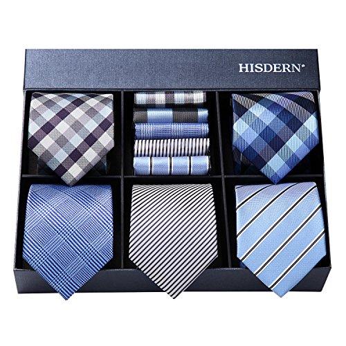 (ヒスデン) HISDERN ビジネス用 ネクタイ 5本 セット おしゃれ プレゼント用 ネクタイ ハンカチ セット 収納BOX 付き 結婚式 二次会 パーティー