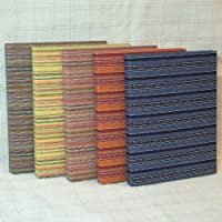【フォトアルバム】しじら織と綿のフォトアルバム(M)5冊セット/紺・エンジ・グリーン・イエロー・ピンク各1冊★80枚収納できます