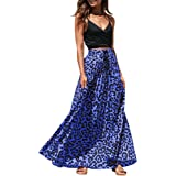 Imysty Womens Leopard Print Long Skirts Drawstring High Waisted Bohemian Maxi Skirt