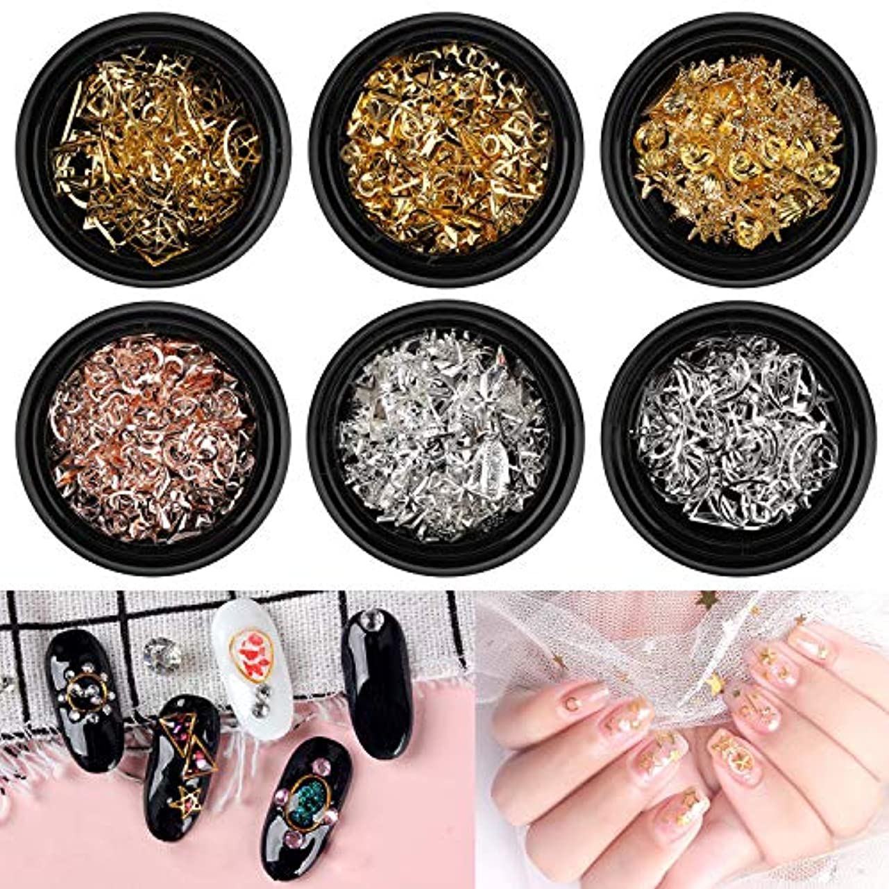 並外れて香水やりすぎAKWOX ネイルスタッズ ネイルメタルパーツ ネイルパーツ (6種類15gセット) ネイルデザイン用