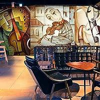 Mbwlkj カスタム壁画3Dカスタム抽象落書き絵画人格音楽カフェバーリビングルーム防水壁画壁紙-300cmx210cm