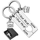 Our First Home Keychains with Gift Box New Home Housewarming Gift Keyrings for Women Men