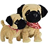 Pug Daddy & Pug Puppy - Plush Electronic Toy Dogs - Touch and Sound, Plays Tricks, Barks, and Cuddles. Enjoy Both Pugs Togeth