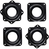 4 Pack 3 Inch Square Lazy Susan Turntable Bearings Hardware Small Rotating Bearing Plate with 150 Pound Capacity (Black)