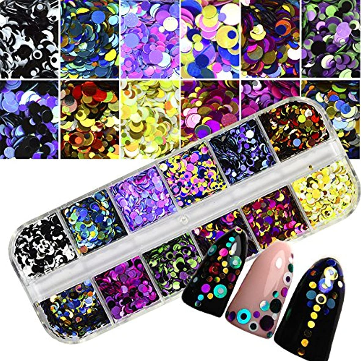 ママ極地不忠1 Set Dazzling Round Nail Glitter Sequins Dust Mixed 12 Grids 1/2/3mm DIY Charm Polish Flakes Decorations Manicure...