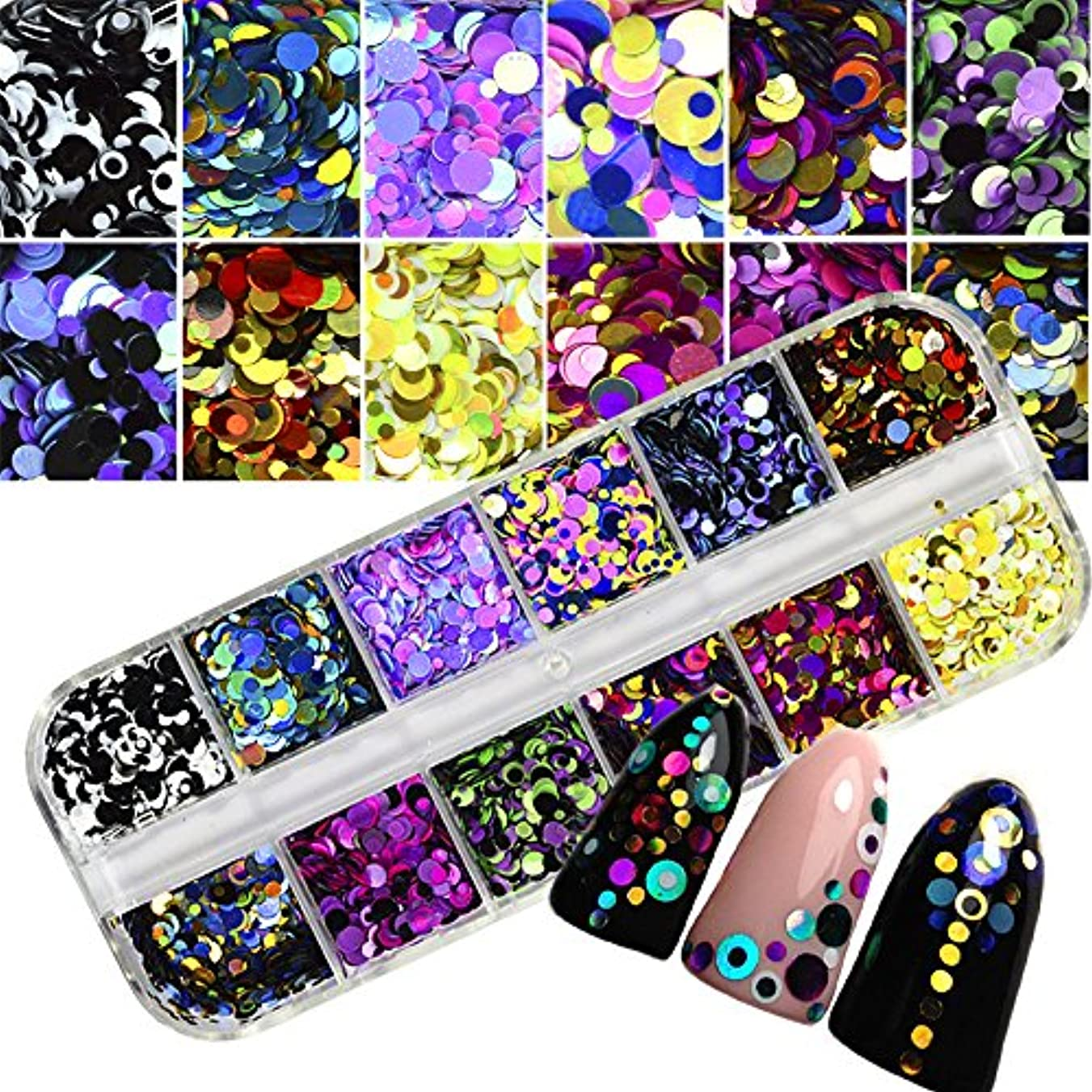 噴出するデコラティブ複雑1 Set Dazzling Round Nail Glitter Sequins Dust Mixed 12 Grids 1/2/3mm DIY Charm Polish Flakes Decorations Manicure Tips Kit