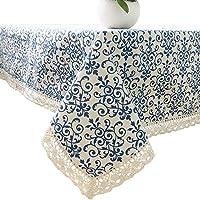 Elome(イローム) テーブルクロス テーブルカバー 食卓カバー レース 青い花 長方形 正方形 リネン おしゃれ 花柄 模様 田園風 中華風 コットン 厚手 耐熱 綿麻 布 生地 キッチン ダイニングルーム インテリア