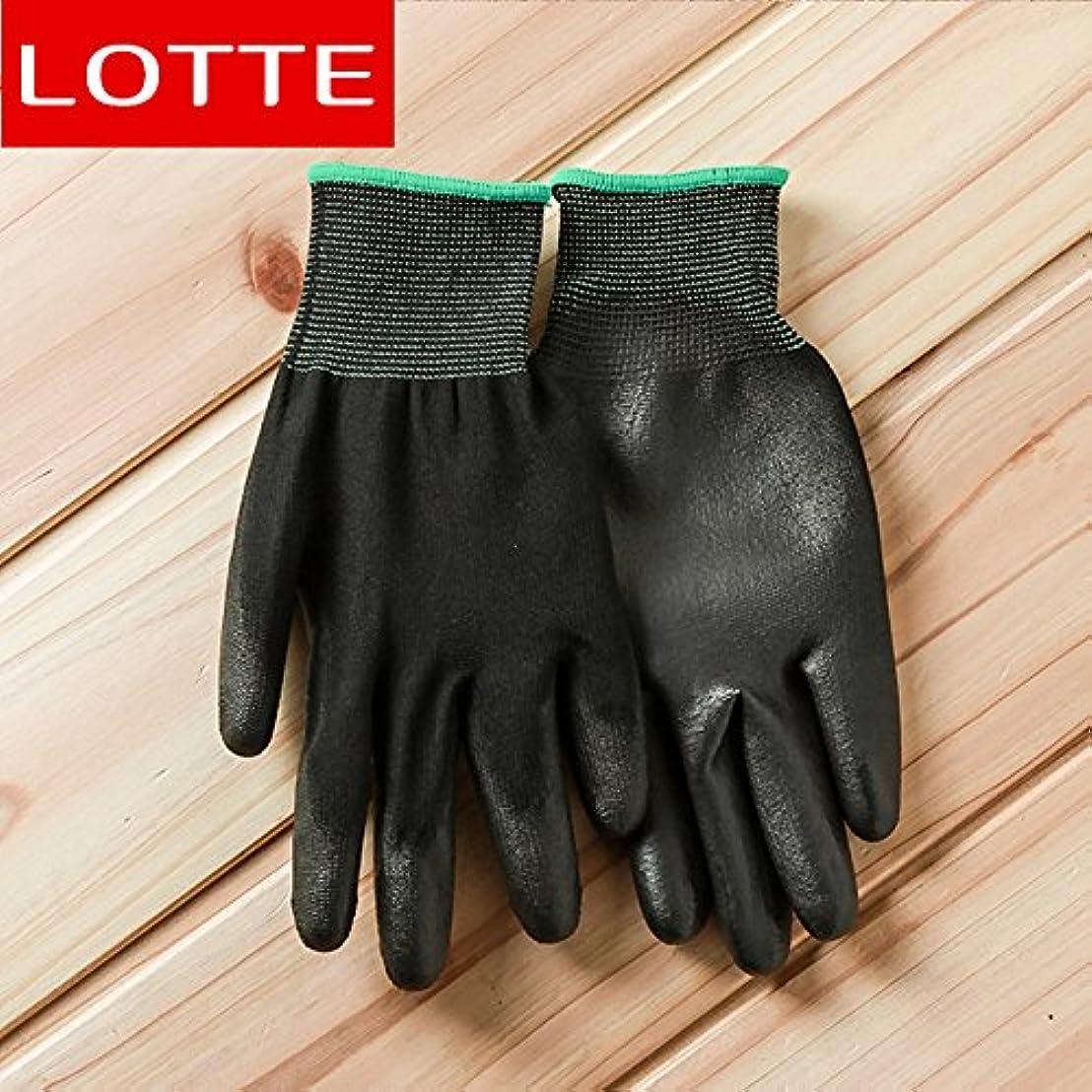 気づく先見の明マイコンVBMDoM ロッテのPUパームコーティング作業手袋(黒/中型) x 5個 [並行輸入品]