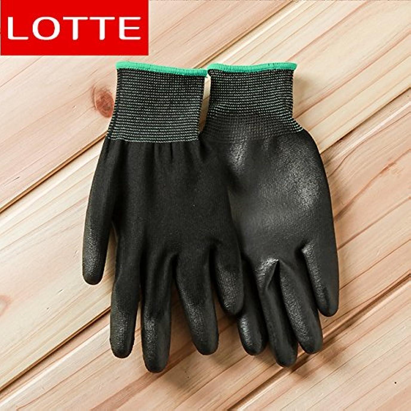 情報時系列永続VBMDoM ロッテのPUパームコーティング作業手袋(黒/中型) x 5個 [並行輸入品]