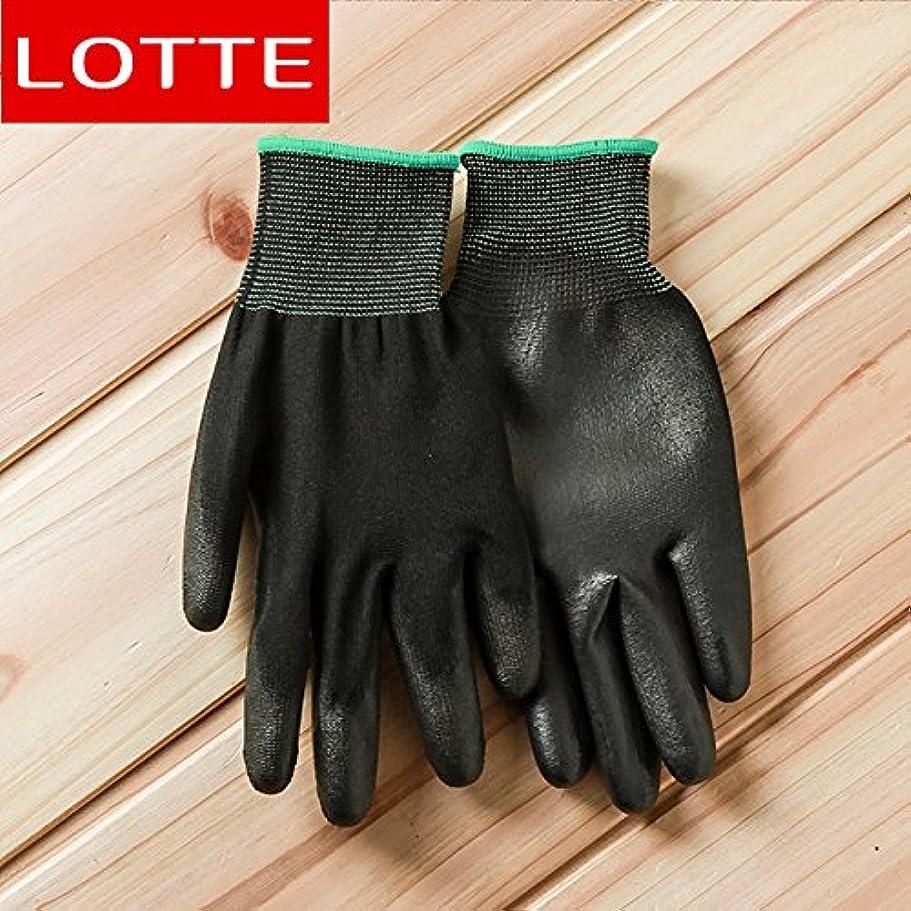 から聞く繊維優れましたVBMDoM ロッテのPUパームコーティング作業手袋(黒/中型) x 5個 [並行輸入品]