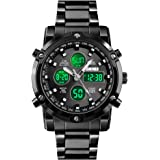 SKMEI Mens Wrist Watch, Waterproof Military Analog Digital Watches with LED Multi Time Chronograph, Stainless Steel Business