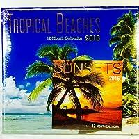 Tropical Beaches 2016 12 Month Calendar with Miniature Sunsets Calendar [並行輸入品]