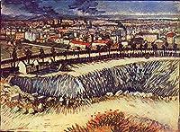 ¥5K-200k 手書き-キャンバスの油絵 - 美術大学の先生直筆 - 22 名画 - Outskirts of パリ near Montmartre van Gogh フィンセント・ファン・ゴッホ 景色 LEPS5 - 絵画 洋画 手描複製画 -05