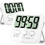 Kitchen Timer, 2 Pack Digital Kitchen Timer Magnetic Countdown Stopwatch Timer with Loud Alarm, Big Digit, Back Stand, Hangin
