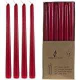 Mega Candles - Unscented 10 Taper Candles - Red Set of 12