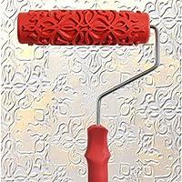 PETSOLA ペイントローラー ペイントブラシ ウォールペイント エンボス花柄 ハンドル付 塗装具 壁装ツール - #3