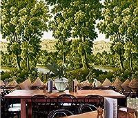 """ヨーロッパのレトロな熱帯雨林のジャングルの壁画 - テレビの背景家の装飾の壁画 - 3D壁紙 - 208cm(w)x146cm(h)(6'8""""x4'8"""")ft"""