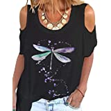 zeyubird Womens Tops Casual Summer Round Neck Short Sleeve Tee Cold Shoulder Dragonfly Print T-Shirt for Women