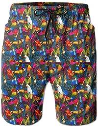 メンズ 水着花鳥パターン 男性スポツパンツサーフパンツ 通気速乾