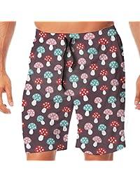 メンズ水着 ビーチショーツ ショートパンツ ピンク ブルー レッド マッシュルーム キノコ スイムショーツ サーフトランクス 速乾 水陸両用 調節可能