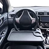 MINI-FACTORY Car Steering Wheel Food Eating Tray Notebook Laptop Table Desk for Cars - Black