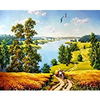 Vintage Tranquil Village Trail Scenery Unframed Oil Painting By Numbers Diy Picture for Home Decor