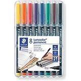 STAEDTLER Lumocolor Superfine Nib Permanent Pen 8-Pieces, Assorted Colours, pack of 8 (313 WP8 ST)