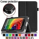 Fintie 東芝TOSHIBA Tablet AT7-B618 / AT7-B619 専用保護ケース 薄型&軽量 スタンドタイプ  タッチペンホルダー付き、コーナー保護型 高級PUレザーケース カバー (ブラック)