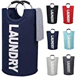 82L Large Laundry Basket Collapsible Fabric Laundry Hamper Tall Foldable Laundry Bag Handles Waterproof Portable Washing Bin