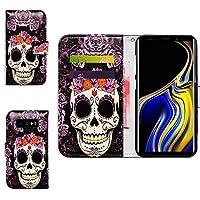 Galaxy Note 9用,ギャラクシーノート9 ケース,Bcov 良質PUレザーケース 横開き 手帳型 二つ折り カード収納ポケット 保護ケース 紫色の花 スカル柄